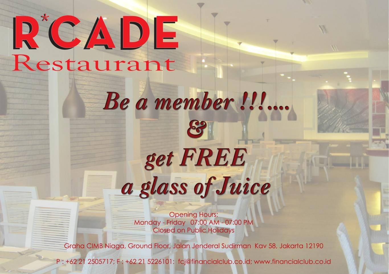 Join R'CADE Membership and Get Free Juice!